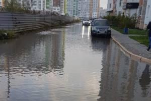 В Брянске после сильного ливня утонула дорога на Крахмалёва
