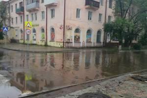 В Брянске затопило ремонтируемый сквер у «Лития»