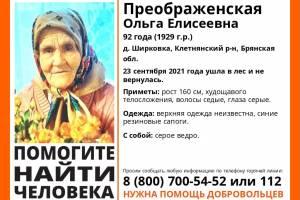 На Брянщине ищут заблудившуюся в лесу 92-летнюю пенсионерку