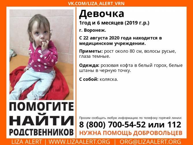 В Брянске ищут родных брошенной во Воронеже 1,5-годовалой девочки
