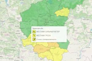 На Брянщине из-за жары и гроз объявили желтый уровень опасности