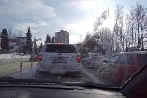 На въезде в Брянск у Самолёта образовалась пробка