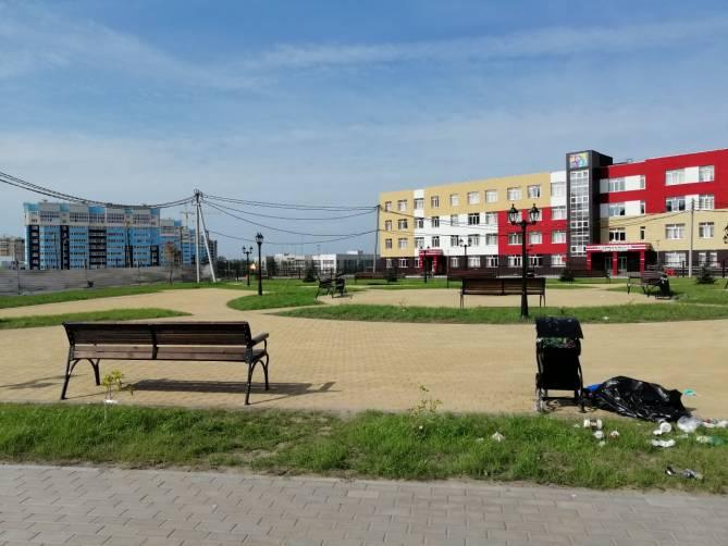 В Брянске новый сквер возле школы №71 начал превращаться в свалку