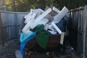 В Брянске водитель грузового такси загадил мусорку у многоэтажки