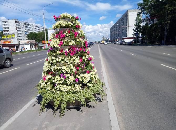 В Брянске на Авиационной посреди дороги поставили клумбы с цветами