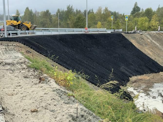 В Брянске размытую ливнем новую дорогу укрепят геосеткой