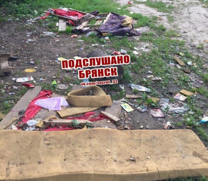 В Брянске завалили хламом площадку перед школой №19