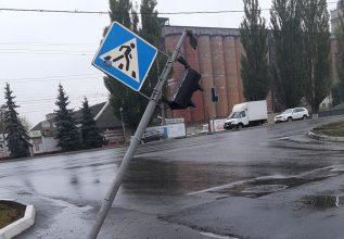 В Брянске на проспекте Московском упал светофор
