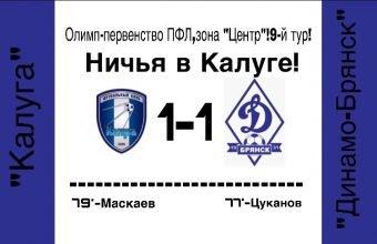 Брянское «Динамо» в большинстве не смогло обыграть «Калугу»