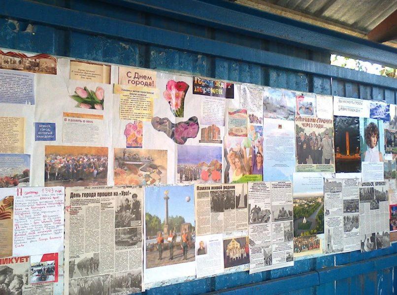 В Брянске на остановке появилась информативная стенгазета