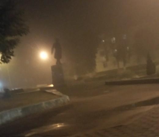 На Брянск вечером опустился сильный туман