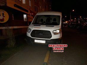 В Брянске автобус из Москвы полностью занял тротуар