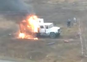 В Брянске сгорел грузовик: есть пострадавшие