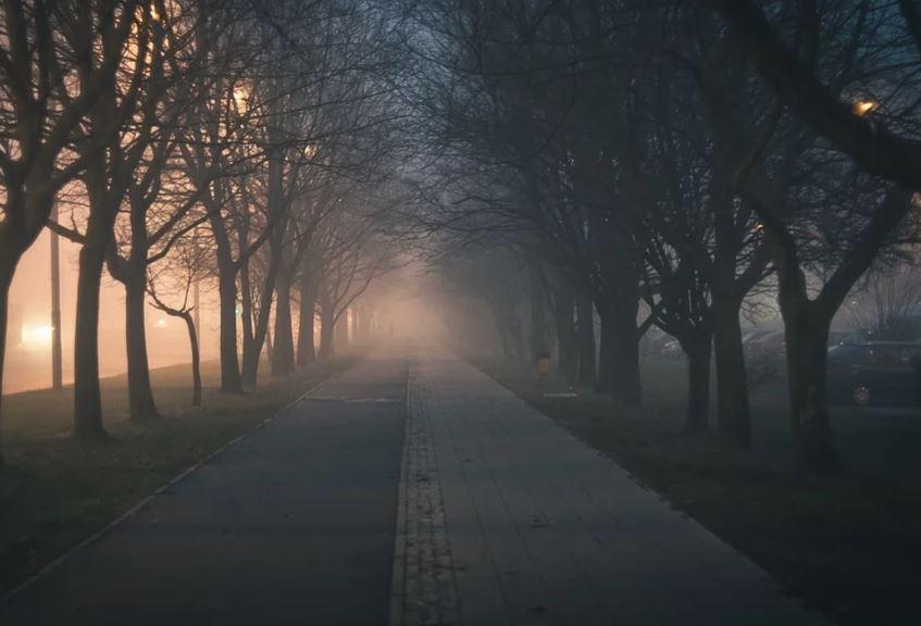 Брянск вечером окутал густой туман