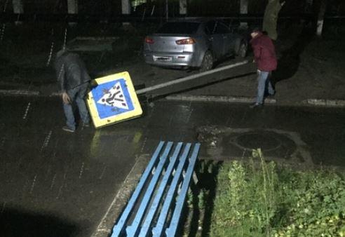 В Брянске сняли на фото похитителей дорожного знака