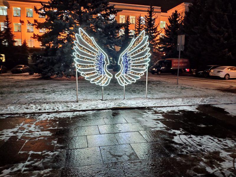 В Брянске на площади Ленина появились светящиеся крылья