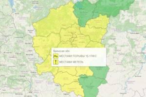 В Брянской области желтый уровень опасности задержится до утра 13 марта