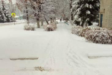 В поселке Навля дороги утонули в снегу