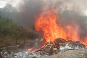 В Брянске возле озера Орлик загорелась свалка