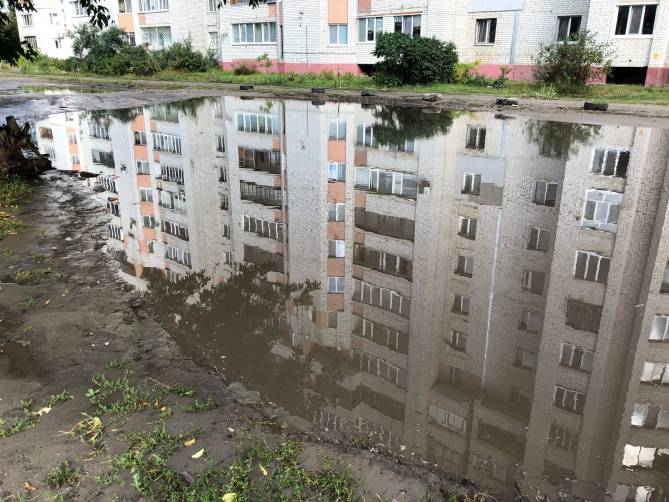 В Брянске после дождя затопило улицу Институтскую