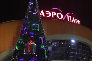 В Брянске установили новогоднюю ёлку возле ТРЦ «Аэропарк»