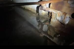 В брянском поселке Белые Берега затопило подвал многоэтажки