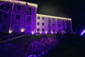 В Брянском районе здания окрасили в пурпурные тона