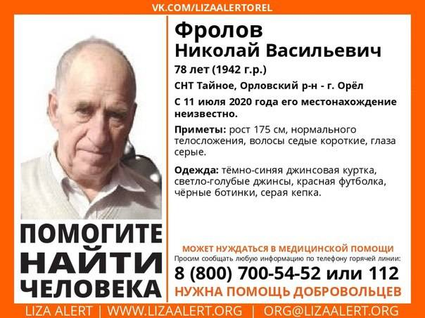 Брянцев просят помочь найти орловского пенсионера