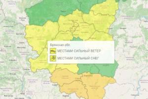 В Брянской области вновь объявили желтый уровень погодной опасности
