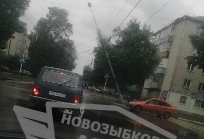 В Новозыбкове сломанная деревом электроопора зависла над дорогой