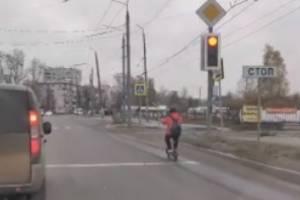 В Брянске заметили безбашенную пенсионерку на электросамокате