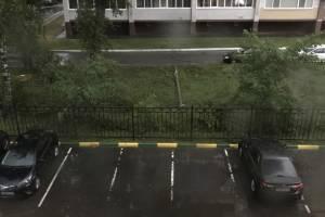 В Брянске на улице Чкалова из-за урагана упал столб