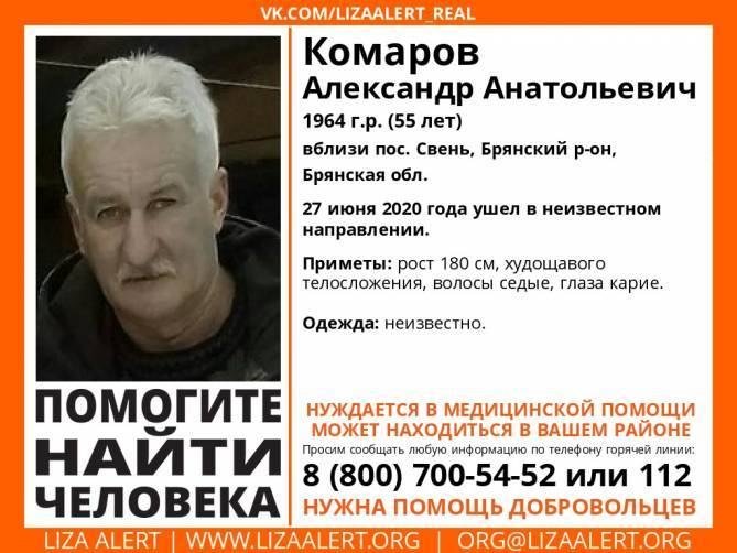В Брянской области нашли погибшим пропавшего месяц назад 55-летнего Александра Комарова