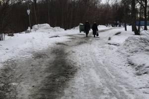 В Брянске вышли на борьбу со льдом на Кургане Бессмертия