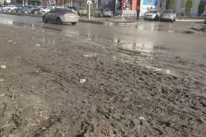В Брянске на Горбатова вслед за остановкой в грязи утонул тротуар