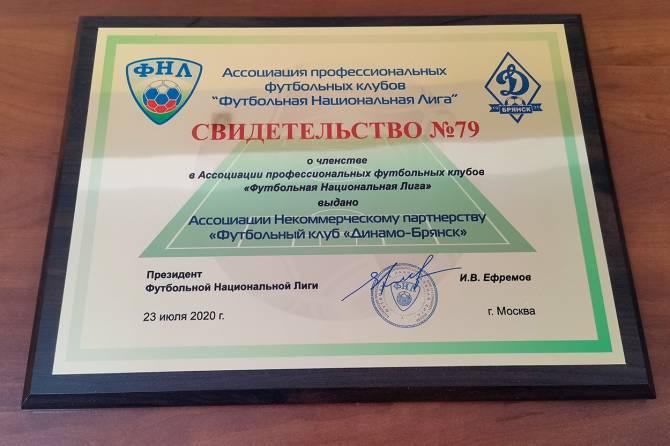 Брянское «Динамо» официально приняли в состав ФНЛ