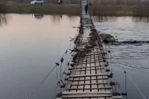 Десна почти затопила знаменитый подвесной мост в Сельцо
