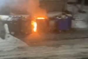 В Брянске ночью на контейнерной площадке у БГТУ загорелись мусорные баки