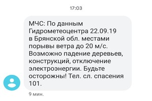 Брянцев через SMS предупредили об урагане 22 сентября