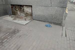 В Брянске напротив здания правительства рухнула плита парапета
