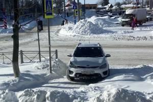 В Брянске автоледи перекрыла зебру возле ТРЦ «БУМ Сити»