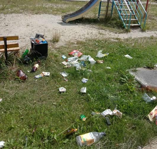 В брянском поселке Шибенец детская площадка утонула в мусоре