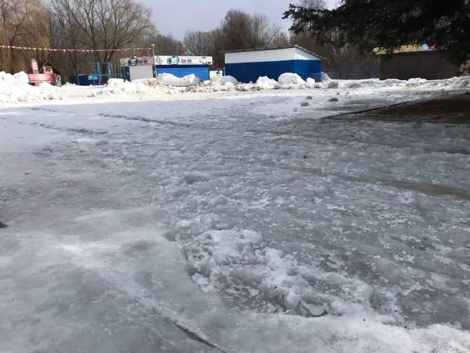 Грязь замерзла: территория у Кургана Бессмертия покрылась льдом