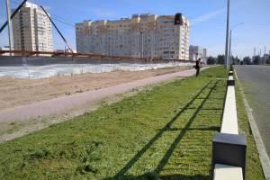 В Брянске начали косить траву вдоль новой дороги по улице Советской