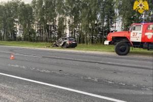 Под Почепом столкнулись грузовик и легковушка: пострадавшего вырезали из авто