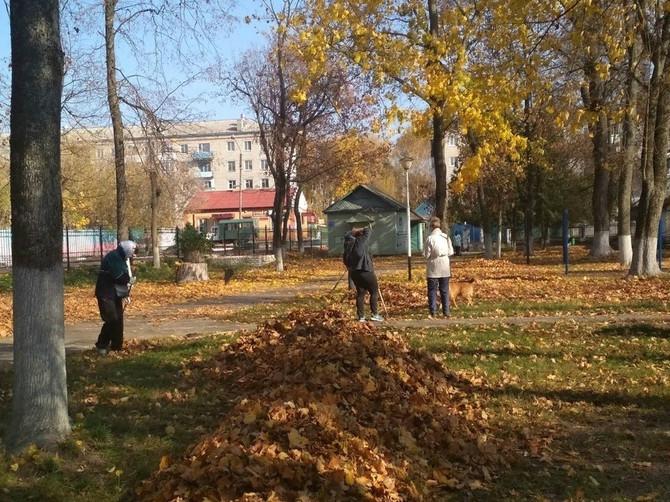 В Стародубе парк и скверы очистили от опавшей листвы