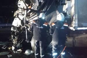 Под Брянском спасатели деблокировали попавшего в ДТП дальнобойщика