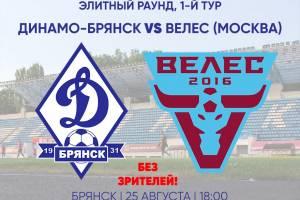 В матче Кубка России брянское «Динамо» примет московский «Велес»