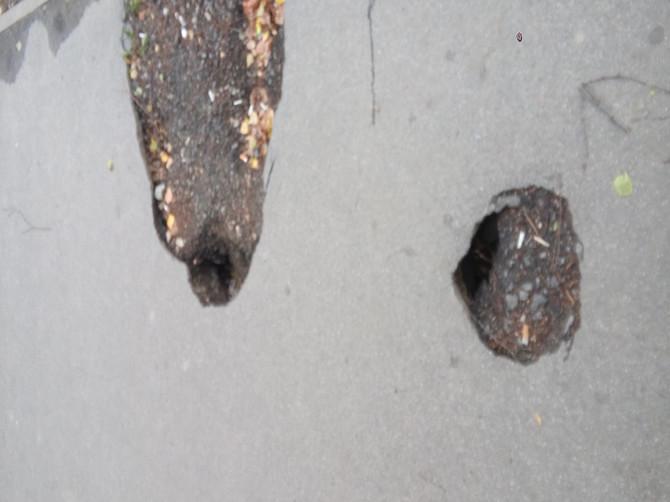 В Брянске на переулке Пилотов заметили опасный провал
