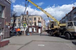 На улице Фокина в Брянске меняют электроопоры